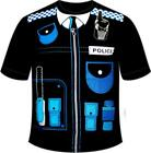Detailed Printed Police Security T Shirt Mens Costume Guard Stag Do Cops Black T