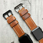 For Apple Watch 5 4 3 38/40/42/44mm Thick Leather Dark Orange iwatch Strap Band