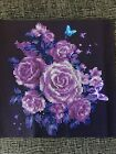 Beautiful Purple Flower Unframed Finished Daimond Portrait