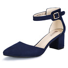IDIFU Women's IN2 Pedazo-C Mid Chunky Heels Ankle Strap D'Orsay Pumps Blue 11 BM