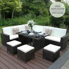 Rattan Garden Corner Sofa Furniture Table Set Brown Black Grey / FREE Cover