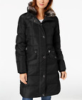 London Fog Faux-Fur-Trim Hooded Puffer Coat  - Black - Size UK S