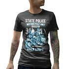 Mens T-Shirt State Police Army Ride Motorcycle Military Vehicle Custom Engine Em