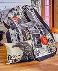 Nevermore Quilted Throw Blanket or Pillow Halloween Orange Pumpkin Home Decor