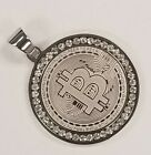 Rhodium Plated Stainless Steel Iced Out Large Bitcon Pendant | USA Seller