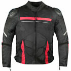 AirTrek Men Mesh Motorcycle Touring Waterproof Rain Armor Biker Jacket Red