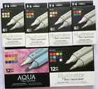 U PICK Spectrum Noir Aqua & Illustrator 6 ct & 12 ct Twin-Tip Artist's Markers