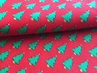"""a2 1 yd x 44"""" Fabric Red Pine Tree Green Christmas Cotton"""