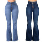 Ladies High Waisted Bell Bottom Bootcut Denim Pants Flared Jeans Trousers Hippie