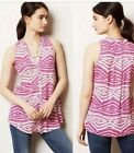 Anthropologie Meave Pink And White Button Down Tank. Perfect Condition Size 6