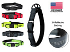 Reflective Nylon Dog Collar with Quick Release Buckle, 5 Colors, Adjustable M L