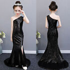 One Shoulder Sequined Sweep Train Princess Fitted Dress Pageant Party Gown