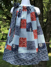 Western Cowgirl Patriotic Red Blue Bandana Pillowcase Dress Sundress 12m - 14