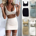 2 Pcs Set Dress Low Cut Tank Top Crop Top Bodycon Bandage Mini Skirt Outfits