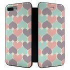 iPhone 7 PLUS Full Flip Wallet Case Cover Hearts Pattern - S3132