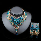 Fashion Crystal Necklace Costume Wedding Jewelry Sets Brides Prom Party Earring