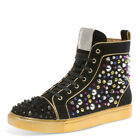 j75 by JUMP Men's Sensai Black Gold Pave Beaded Spiked High Top Sneakers