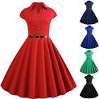 Women's 1950s 60s Swing Vintage Retro Pinup Rockabilly Plain Evening Party Dress $13.2 USD on eBay