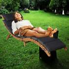 Solid Acacia Wood Outdoor Pool Sun Lounger Bathing Curved Lounge W/removable Pad