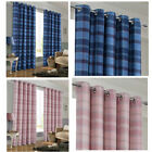 Burlington Faux Wool Lined Checked Eyelet Curtains (pair Of) Speical Offer