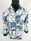 Mens Pavini Limited Ed. Shirt Slim Fit White w/ Bold Blue Florals Button Front $19.95 USD on eBay