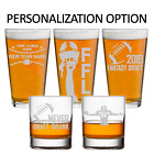 Custom Fantasy Football Glass Whiskey and Pint Personalized Engraved Glasses