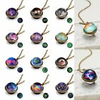 Luminous Universe Solar System Necklace Pendant Double Sided Glass Dome Jewelry