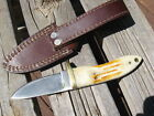 "Knife fixed blade custom made Red Deer sheath 3 ¼"" blade antler handle? white"