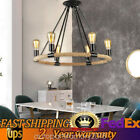 110V Hemp Rope Retro Ceiling Light Industrial Chandelier Hanging Light 6/8Heads