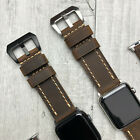 For Apple Watch 5 4 3 2 38/40/42/44mm Thick Bull Leather Brown iwatch Strap Band