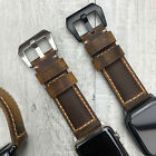 For Apple Watch 5 4 3 2 38/40/42/44mm Bull Leather Dark Brown iwatch Strap Band