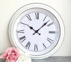 New Shabby Chic White Round Wall Clock Roman Numerals Vintage French Large 40cm
