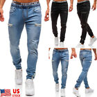 Mens Slim Fit Stretch Jeans Comfy Fashionable Skinny Denim Pants Denim Trousers