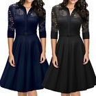Womens 1950s Vintage Style Evening Party Swing Classic Lace Dress S-2XL US~ $13.8 USD on eBay
