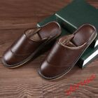 Mens Winter Casual Flat Slippers Home Shoes Leather Striped Slides Mules Shoes