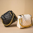 Small Mini Quilted Faux Leather Shoulder Bag Crossbody Chain Purse Bucket Bag
