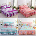 Lace Flower Floral Bed Skirt Pillowcase Dust Ruffle Bedspread King Size Bedding image