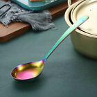 Rainbow Big Soup Spoon Stainless Steel Mixing Drinking Tools Metal Big Dessert