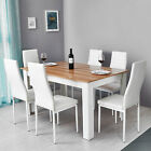 Solid Wood Dining Table Set w/6 Faux Leather Chairs Seat Kitchen Home Furniture