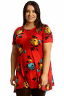 New Womens Plus Size Top Ladies Floral Print Swing Tunic A-Line Skater Blouse