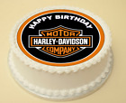 HARLEY DAVIDSON HAPPY BIRTHDAY EDIBLE CAKE & CUPCAKE TOPPER WAFER PAPER/ICING £3.50 GBP on eBay