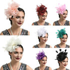US Women Wedding Party Organza Feather Mesh Fascinator Hat Hair Clip Accessories
