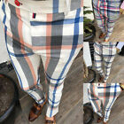 US Gym Mens Trousers Plaid Tracksuit Bottoms Skinny Joggers Sweat Track Pants