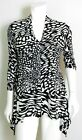 CHAUS New York White Print Women's Blouse Size S    (IN2)