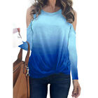 Women Sexy Cold Shoulder Gradient T-shirt Ladies Loose Blouse Tunic Tops Casual