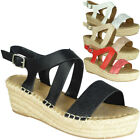 Womens Espadrilles Sandals Ladies Wedges Strappy Peep Toe Summer Slingback Shoes
