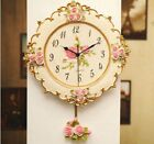 Roses Design Wall Clock For Living Room Bedroom Mute Resin Floral Fashion Clocks