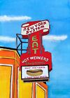 Hot Wieners Watercolor Art Print RI New York System Dog Diner Kitchen Food Gift