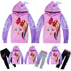 JoJo Siwa Girls Bowknot Zipper Hoodies Casual Cartoon Top Clothes+Trousers Sets