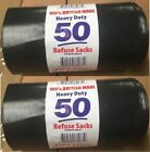 UK MADE BLACK EXTRA HEAVY DUTY REFUSE BAGS SACKS STRONG BIN LINERS RUBBISH BAG